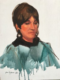 Woman in Turquoise Blouse
